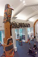 People in the Bill Reid Gallery of Northwest Coast Art, Vancouver, British Columbia, Canada
