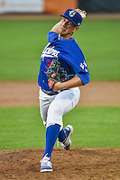 Ogden Raptors relief pitcher Adam Bray (38) delivers a pitch to the plate against the Great Falls Voyagers in Pioneer League action at Lindquist Field on July 16, 2015 in Ogden, Utah. Ogden defeated Great Falls 5-2. (Stephen Smith/Four Seam Images)