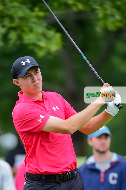 Matt Fitzpatrick (ENG) watches his tee shot on 9 during Sunday's final round of the World Golf Championships - Bridgestone Invitational, at the Firestone Country Club, Akron, Ohio. 8/6/2017.<br /> Picture: Golffile | Ken Murray<br /> <br /> <br /> All photo usage must carry mandatory copyright credit (&copy; Golffile | Ken Murray)