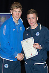 St Johnstone FC Youth Academy Presentation Night at Perth Concert Hall..21.04.14<br /> David Wotherspoon presents to Jack MacDonald<br /> Picture by Graeme Hart.<br /> Copyright Perthshire Picture Agency<br /> Tel: 01738 623350  Mobile: 07990 594431