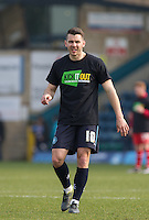 Matt Bloomfield of Wycombe Wanderers in his Kick it Out shirt during the Sky Bet League 2 match between Wycombe Wanderers and Stevenage at Adams Park, High Wycombe, England on 12 March 2016. Photo by Andy Rowland/PRiME Media Images.