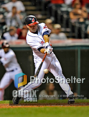 13 September 2008: Cleveland Indians' infielder Jamey Carroll hits a single in the seventh inning against the Kansas City Royals at Progressive Field in Cleveland, Ohio. The Royals defeated the Indians 8-4 in the second game, sweeping their double-header...Mandatory Photo Credit: Ed Wolfstein Photo