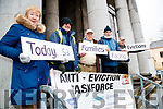 Catherine Dolan, Mike Dolan, Pat Buckley, Mike Enright and Michael Moran, pictured at Tralee Courthouse, on Thursday, January 18th last, who are five years protesting against repossessions and people getting evicted from their homes.
