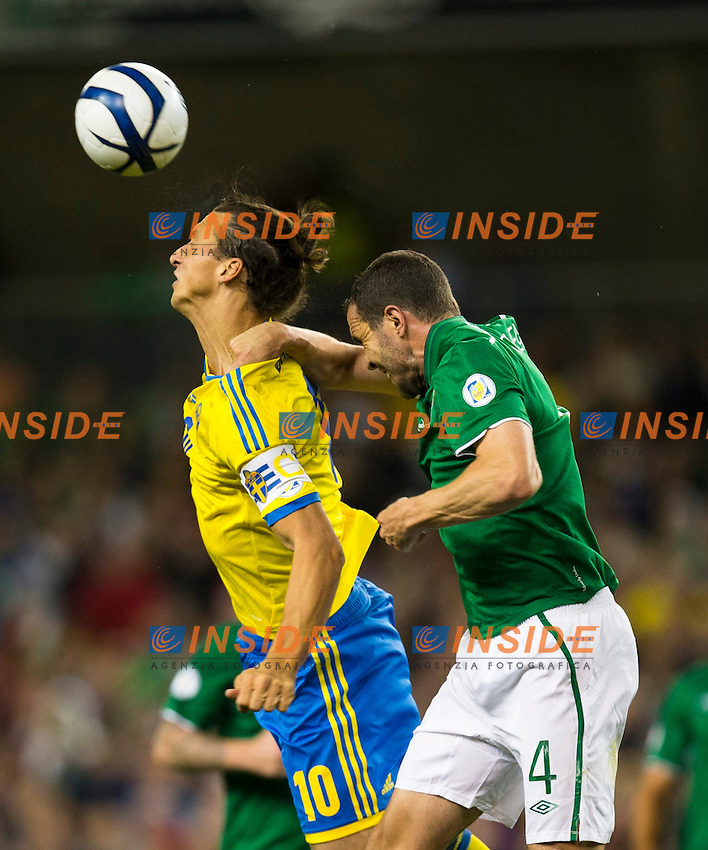 06.09.2013, Aviva Stadium, Dublin, IRL, FIFA WM Qualifikation, Irrland vs Schweden, Rueckspiel, im Bild Sverige 10 Zlatan Ibrahimovic against Ireland 4 John O'Shea // during the FIFA World Cup Qualifier second leg Match between Ireland and Sweden at the Aviva stadium in Dublin, Ireland on 2013/09/06. EXPA Pictures &copy; 2013, PhotoCredit: EXPA/ PicAgency Skycam/ Michael Campanella<br /> <br /> ***** ATTENTION - OUT OF SWE ***** <br /> Dublino 06-09-2013 <br /> Football Calcio 2013 / 2014 Qualificazioni Mondiali 2014 <br /> Irlanda - Svezia <br /> Foto Insidefoto