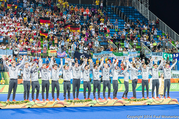 Germany salute the crowd before the Men's hockey medal ceremony at the Rio 2016 Olympics at the Olympic Hockey Centre in Rio de Janeiro, Brazil.