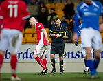 St Johnstone v Brechin...07.01.12  Scottish Cup Round 4.Gerry McLauchlan is sent off by ref Mike Tumilty.Picture by Graeme Hart..Copyright Perthshire Picture Agency.Tel: 01738 623350  Mobile: 07990 594431