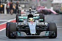 March 25, 2017: Lewis Hamilton (GBR) #44 from the Mercedes AMG Petronas team leaves the pits for the qualifying session at the 2017 Australian Formula One Grand Prix at Albert Park, Melbourne, Australia. Photo Sydney Low