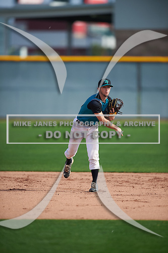David Stirpe (3) of Hilton H.S. High School in Rochester, New York during the Under Armour All-American Pre-Season Tournament presented by Baseball Factory on January 14, 2017 at Sloan Park in Mesa, Arizona.  (Mike Janes/Mike Janes Photography)