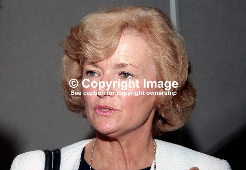 Glenys Kinnock, wife, Neil Kinnock, former leader, Labour Party, UK, and currently vice-president, European Commission, October 1997. 199710071.<br />