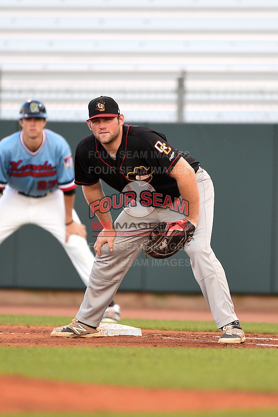 Quad Cities River Bandits first baseman Chase McDonald (50) holds a runner on during a game against the Cedar Rapids Kernels on August 19, 2014 at Perfect Game Field at Veterans Memorial Stadium in Cedar Rapids, Iowa.  Cedar Rapids defeated Quad Cities 5-3.  (Mike Janes/Four Seam Images)