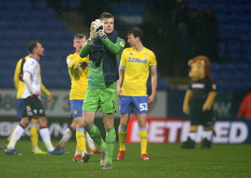 Leeds United's goalkeeper Bailey Peacock-Farrell applauds the fans at the final whistle <br /> <br /> Photographer Stephen White/CameraSport<br /> <br /> The EFL Sky Bet Championship - Bolton Wanderers v Leeds United - Saturday 15th December 2018 - University of Bolton Stadium - Bolton<br /> <br /> World Copyright © 2018 CameraSport. All rights reserved. 43 Linden Ave. Countesthorpe. Leicester. England. LE8 5PG - Tel: +44 (0) 116 277 4147 - admin@camerasport.com - www.camerasport.com