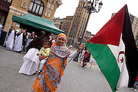 Euskadi, Bilbao.Manifestazione della comunità saharawi per chiedere il referendum sull'indipendenza dal Marocco..Euskadi, Bilbao.Manifestation of the Saharawi community to demand a referendum on independence from Morocco