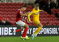 Preston North End's Brad Potts battles with Middlesbrough's Dael Fry<br /> <br /> Photographer Alex Dodd/CameraSport<br /> <br /> The EFL Sky Bet Championship - Middlesbrough v Preston North End - Tuesday 1st October 2019  - Riverside Stadium - Middlesbrough<br /> <br /> World Copyright © 2019 CameraSport. All rights reserved. 43 Linden Ave. Countesthorpe. Leicester. England. LE8 5PG - Tel: +44 (0) 116 277 4147 - admin@camerasport.com - www.camerasport.com