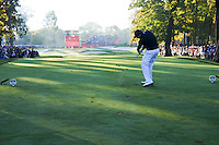 Phil Mickelson (Team USA) on the 5th tee during the Saturday morning Foursomes at the Ryder Cup, Hazeltine national Golf Club, Chaska, Minnesota, USA.  01/10/2016<br /> Picture: Golffile | Fran Caffrey<br /> <br /> <br /> All photo usage must carry mandatory copyright credit (&copy; Golffile | Fran Caffrey)