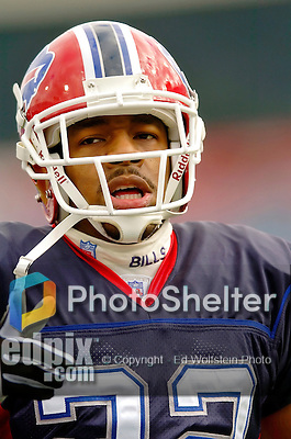 16 October 2005: Nate Clements, corner back for the Buffalo Bills, takes some pre-game warmup drills on October 16, 2005 at Ralph Wilson Stadium. The Bills defeated the visiting division rival NY Jets 27-17 at Orchard Park, NY. ..Mandatory Photo Credit: Ed Wolfstein