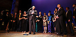 Terrence McNally & partner Tom Kirdahy with ensemble cast.performing in 'Angela Lansbury and Friends Salute Terrence McNally' - A Benefit for the Acting Company in New York City.
