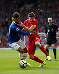 Mason Holgate of Everton  in action with James Milner of Liverpool during the English Premier League match at Anfield Stadium, Liverpool. Picture date: April 1st 2017. Pic credit should read: Simon Bellis/Sportimage