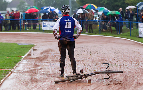 31 AUG 2015 - IPSWICH, GBR - Adam Peck of Ipswich recovers after a collision appeared to have wrecked his chances of taking third place in a run-off at the British Cycle Speedway Championships at Whitton Sports and Community Centre in Ipswich, Suffolk, Great Britain. He was awarded the heat after the referee decided he had been fouled (PHOTO COPYRIGHT © 2015 NIGEL FARROW, ALL RIGHTS RESERVED)