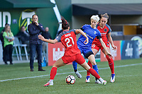 Portland, OR - Saturday May 06, 2017: Hayley Raso, Megan Rapinoe, Celeste Boureille during a regular season National Women's Soccer League (NWSL) match between the Portland Thorns FC and the Seattle Reign FC at Providence Park.