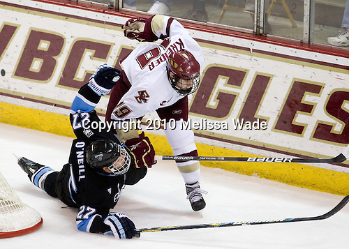 Will O'Neill (Maine - 27), Chris Kreider (BC - 19) - The Boston College Eagles defeated the University of Maine Black Bears 6-1 on Friday, January 15, 2010, at Conte Forum in Chestnut Hill, Massachusetts.