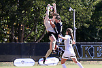 23 October 2016: Wake Forest's Lindsay Preston (left) is fouled by Notre Dame's Kaitlin Klawunder (in blue) while challenge for a cross. The Wake Forest University Demon Deacons hosted the University of Notre Dame Fighting Irish at Spry Stadium in Winston-Salem, North Carolina in a 2016 NCAA Division I Women's Soccer match. Notre Dame won the game 1-0.