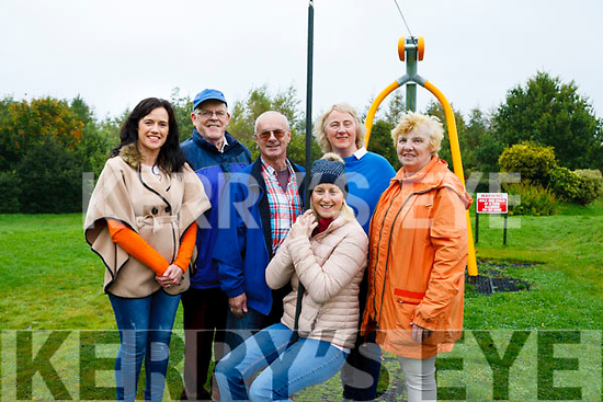 Alisha Scannell on the Zip Wire with some members of Abbeyfeale Town park committee.<br /> L-R Trish Roche, John O&rsquo; Sullivan, Jimmy Cahill, Geraldine Mann O&rsquo; Brien &amp; Celine McNally.