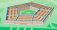 Illustration of the Pentagon, United States Department of Defense, Arlington County, Virginia