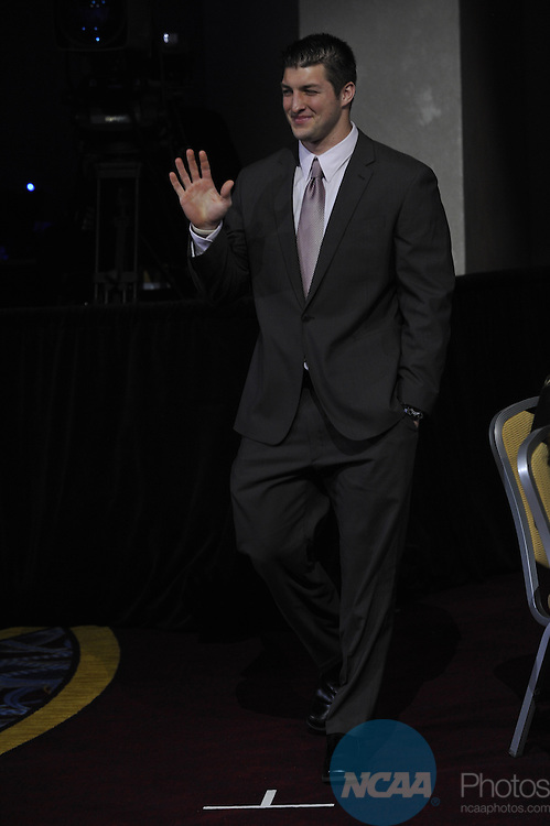 14 JAN 2010: Honorees and guests participate in the 2010 NCAA Honors Celebration at the 2010 NCAA Convention held at the Marriott Marquis and the Hyatt Regency in Atlanta, GA. Stephen Nowland/NCAA Photos.Pictured: Tim Tebow.