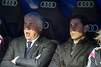 Real Madrid´s coach Carlo Ancelotti and Fernando Hierro during 2014-15 La Liga match between Real Madrid and Deportivo de la Coruna at Santiago Bernabeu stadium in Madrid, Spain. February 14, 2015. (ALTERPHOTOS/Luis Fernandez) /NORTEphoto.com