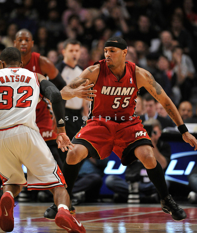 EDDIE HOUSE, of the Miami Heat , in actions during the Heat game against the Chicago Bulls at the United Center on January 15, 2011.  The Bulls won the game beating the Heat 99-96