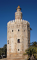 General view of Torre del Oro (Tower of Gold), Seville, Spain, pictured on December 30, 2006, in the afternoon. The tower, first half of the 13th, century, is dodecagonal in shape and divided into three levels. The circular top level was added in 1760. It served as an observation post at the entrance to the port on the Guadalquivir River during the conquest of Americas. Today it houses the city's Naval Museum. Picture by Manuel Cohen.