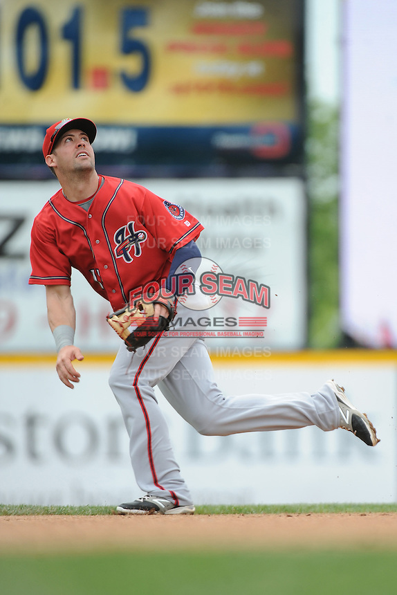 Harrisburg Senators infielder Jason Martinson (11) during the game against the Trenton Thunder at ARM & HAMMER Park on May 21, 2014 in Trenton, New Jersey.  Harrisburg defeated Trenton 9-0.  (Tomasso DeRosa/Four Seam Images)