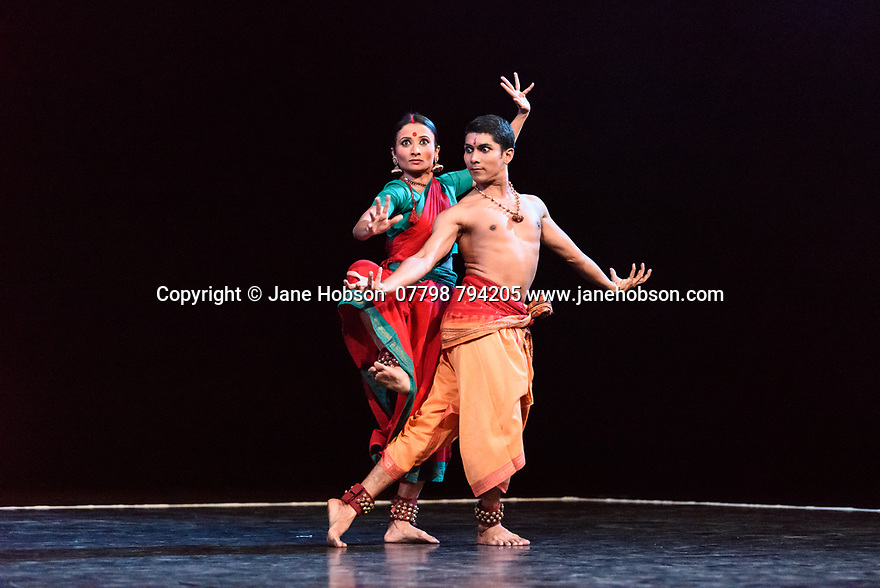 23.11.2018. In its second year at Sadler&rsquo;s Wells, Darbar Festival welcomes some of the most exciting names in classical Indian dance, curated by Sadler&rsquo;s Wells Associate Artist Akram Khan. In the first performance of the festival, Renjith Babu and Neha Mondal Chakravarty present &ldquo;An Evening of Bharatanatyam&rdquo; by the bharatanatyam and contemporary artist Mavin Khoo. The second evening of the programme, &ldquo;Adventures in Odissi and Kathak&rdquo;, combines two classical Indian dance forms in solo performances by Sujata Mohapatra and Gauri Diwakar.<br /> Winner of the 2017 Sangeet Natak Akademi award for outstanding contribution to odissi, Sujata Mohapatra performs work that treads the line between odissi dance and theatre. Multi award-winning kathak dancer Gauri Diwakar performs Hari Ho...Gati Meri (&ldquo;Let my salvation be in the supreme&rdquo;), a solo choreographed by Aditi Mangaldas.<br /> <br /> Pictured: Renjith Babu and Neha Mondal Chakravarty in &ldquo;An Evening of Bharatanatyam&rdquo; by the bharatanatyam and contemporary artist, Mavin Khoo.<br /> <br /> Photograph &copy; Jane Hobson.