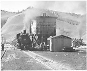 D&amp;RGW #489 with last eastbound Powderhorn stock train stopped for water at Sargent.<br /> D&amp;RGW  Sargent, CO  Taken by Richardson, Robert W. - 10/9/1953