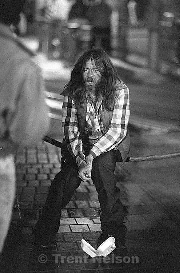 Drunk on Market Street at night.<br />
