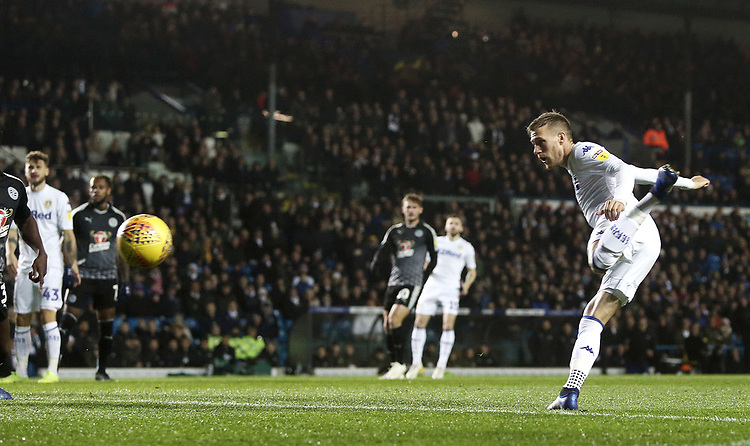 Leeds United's Barry Douglas with an early headed attempt from close range<br /> <br /> Photographer Rich Linley/CameraSport<br /> <br /> The EFL Sky Bet Championship - Leeds United v Reading - Tuesday 27th November 2018 - Elland Road - Leeds<br /> <br /> World Copyright © 2018 CameraSport. All rights reserved. 43 Linden Ave. Countesthorpe. Leicester. England. LE8 5PG - Tel: +44 (0) 116 277 4147 - admin@camerasport.com - www.camerasport.com