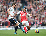 Arsenal's Theo Walcott tussles with Tottenham's Jan Vertonghen during the Premier League match at the Emirates Stadium, London. Picture date November 6th, 2016 Pic David Klein/Sportimage