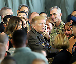 November 5, 2017, Tokyo, Japan - U.S. President Donald Trump, accompanied by his wife Melania (L) talks with U.S. soldiers after he delivered a speech before them at the Yokota Air Base in Tokyo on Sunday, November 5, 2017. Trump arrived here on a three0day official visit to Japan for the first leg of his Asian tour.    (Photo by Yoshio Tsunoda/AFLO) LWX -ytd-
