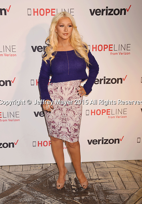 WEST HOLLYWOOD, CA - NOVEMBER 12: Singer/songwriter Christina Aguilera Raises Awareness About Domestic Violence With Verizon's HopeLine Program at The London Hotel on November 12, 2015 in West Hollywood, California.