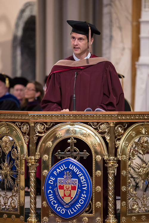 Jeff Bethke, executive vice president, offers remarks during the 120th DePaul University Convocation on Thursday, August 31, 2017, at St. Vincent de Paul Parish Church. A. Gabriel Esteban, Ph.D., president, and Marten denBoer, provost, provided remarks, and many faculty and staff were recognized with annual awards including: Excellence in Teaching, Spirit of Inquiry, Excellence in Public Service, Vincent de Paul Professorship, Spirit of DePaul, Staff Quality Service, Gerald Paetsch Academic Advising and faculty promotion and tenure. (DePaul University/Jeff Carrion)