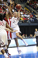 BERKELEY, CA - MARCH 30: Jayne Appel posts up and puts up a shot during Stanford's 84-66 win against the Ohio State Buckeyes on March 28, 2009 at Haas Pavilion in Berkeley, California.