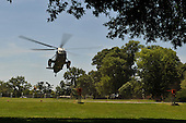 Marine One carrying United States President Barack Obama lands on the campus of the National Naval Medical Center in Bethesda, Maryland on June 1, 2009. The President is at the Center to visit wounded soldiers.<br /> Credit: Kevin Dietsch / Pool via CNP