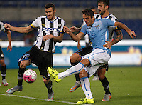 Calcio, Serie A: Lazio vs Udinese. Roma, stadio Olimpico, 13 settembre 2015.<br /> Lazio&rsquo;s Alessandro Matri, center, kicks to score his second goal during the Italian Serie A football match between Lazio and Udinese at Rome's Olympic stadium, 13 September 2015.<br /> UPDATE IMAGES PRESS/Isabella Bonotto