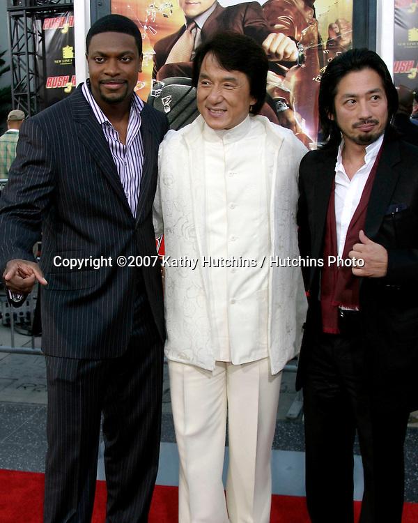 "Chris Tucker, Jackie Chan,  & Hiroyuki Sanada .""Rush Hour 3"" Premiere.Grauman's Chinese.Los Angeles, CA.July 30, 2007.©2007 Kathy Hutchins / Hutchins Photo...."