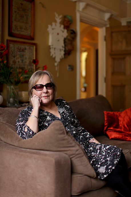 LEICESTER, UK - Sue Townsend - best-selling English novelist and playwright and best known as the author of the Adrian Mole books - at home in Leicester.