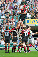 Mouritz Botha of Saracens wins the lineout during the Aviva Premiership match between Saracens and London Irish at Twickenham on Saturday 1st September 2012 (Photo by Rob Munro)