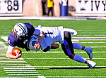 November 2nd, 2019:   Yales QB Kurt Rawlings, rushes for a first down as the Bulldogs up their record to 6-1 defeating the Columbia Lions 45-10 in Ivy League football.  The game was held at the Yale Bowl in New Haven, Connecticut. Heary/Eclipse Sportswire/CSM