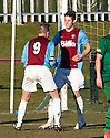 Whitehill's Aaron Somerville (10) celebrates with Wayne McIntosh (9) after he scores their goal from the spot.