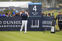 Tyrrell Hatton (ENG) on the 4th tee during Round 4 of the Alfred Dunhill Links Championship 2019 at St. Andrews Golf CLub, Fife, Scotland. 29/09/2019.<br /> Picture Thos Caffrey / Golffile.ie<br /> <br /> All photo usage must carry mandatory copyright credit (© Golffile | Thos Caffrey)
