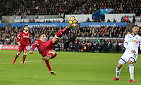 Roberto Firmino of Liverpool with an acrobatic shot during the Premier League match between Swansea City and Liverpool at the Liberty Stadium, Swansea, Wales on 22 January 2018. Photo by Mark Hawkins / PRiME Media Images.